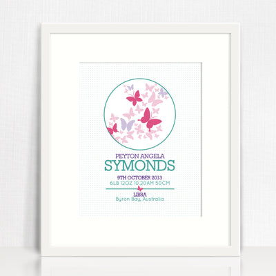 Butterflies Circle Birth Print