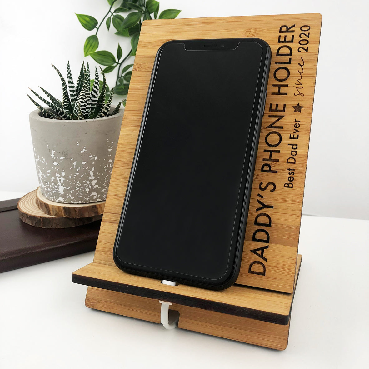 Personalised Bamboo Phone Charger Stand