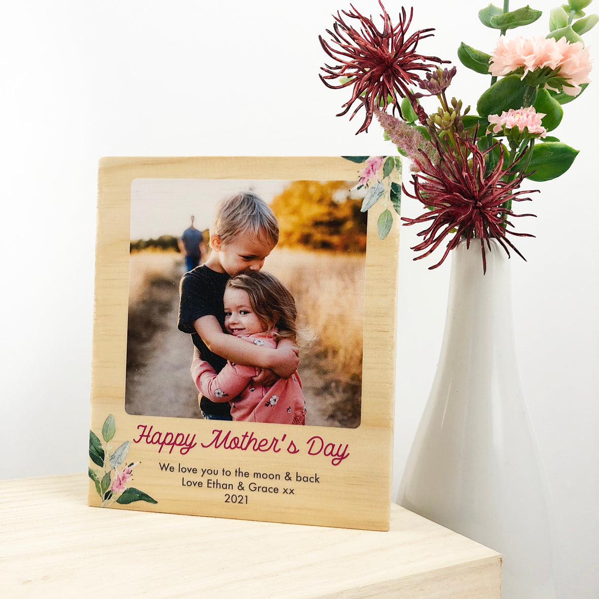 Personalised Mother's Day Wooden Photo & Text Block