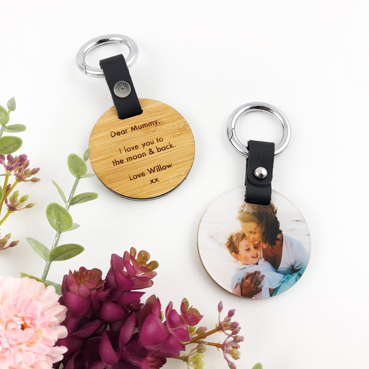 Double Sided Personalised Round Photo Keyring