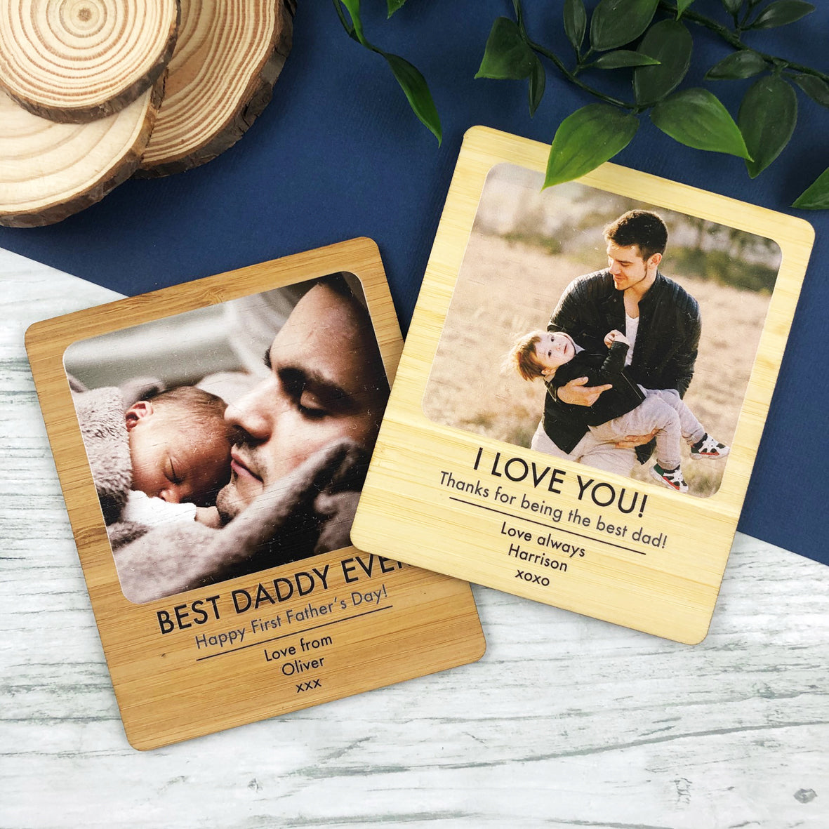 Personalised Bold Text Photo Magnet For Him (Bamboo)