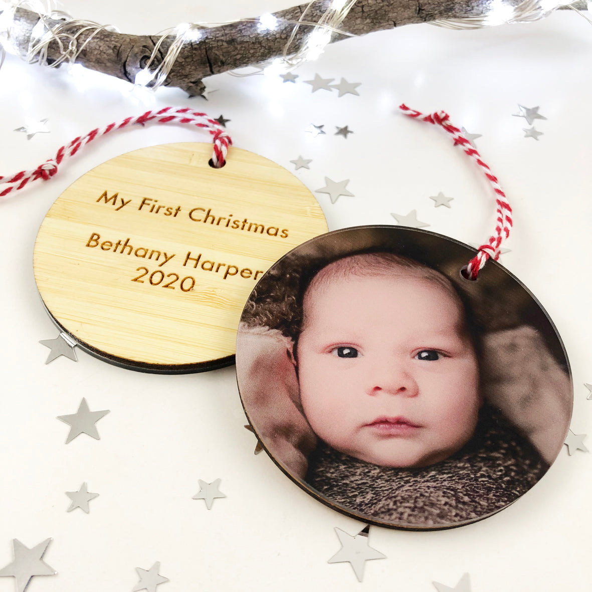 Deluxe Double Sided Bamboo Photo Ornaments