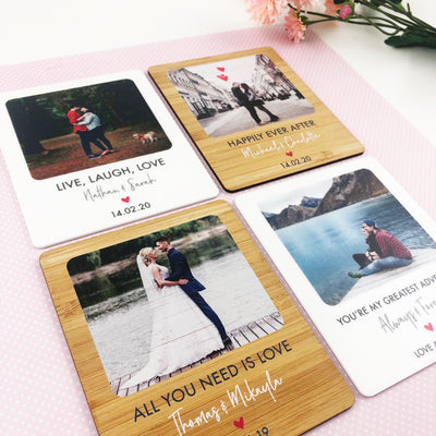 Personalised Lovers Photo Magnet (White)
