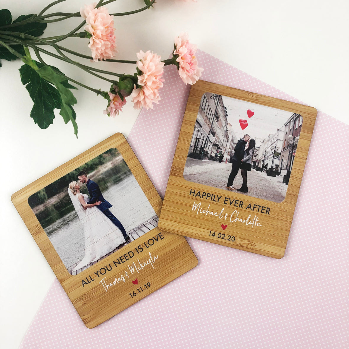 Personalised Lovers Photo Magnet (Bamboo)