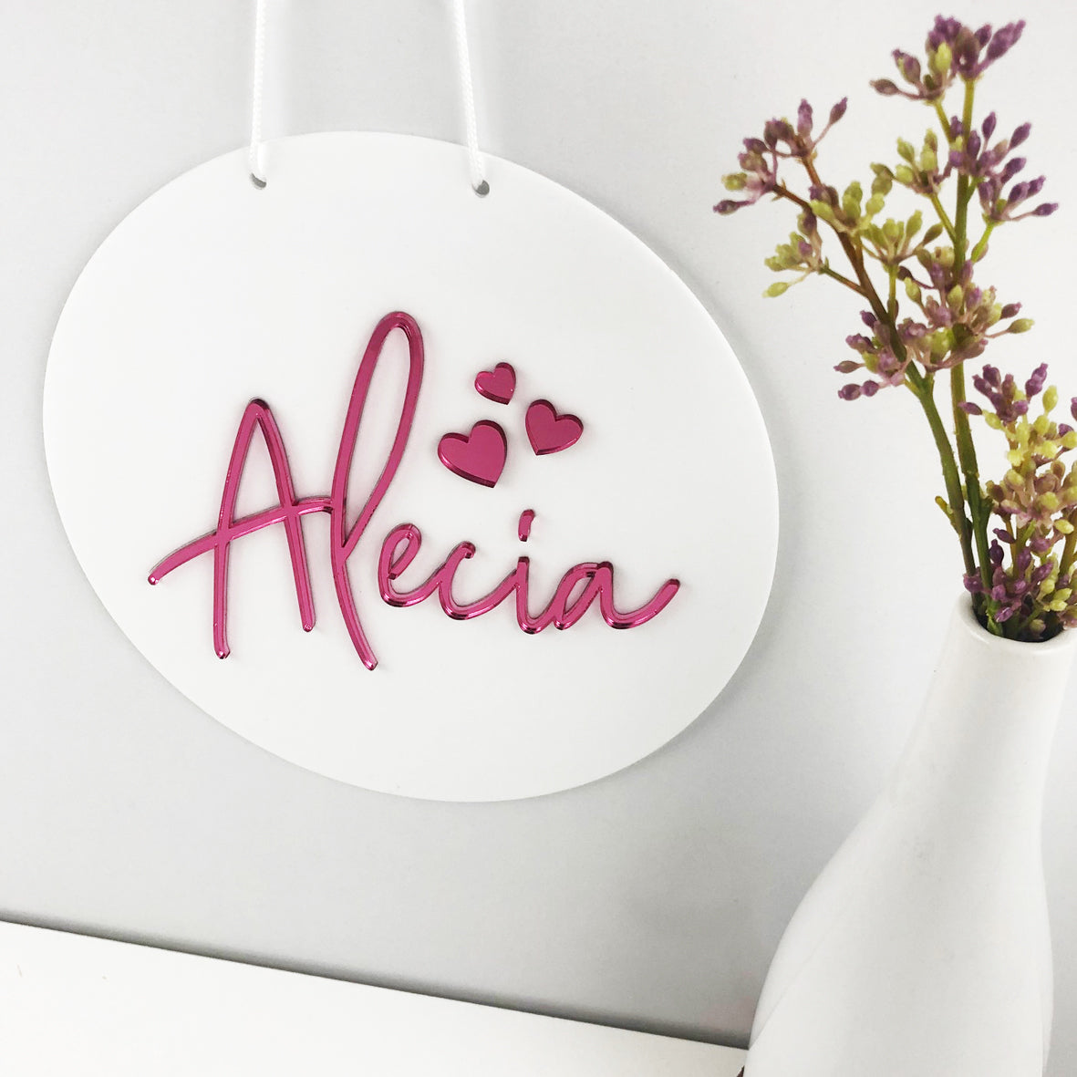 Tall Script Name White Acrylic Wall Hanging