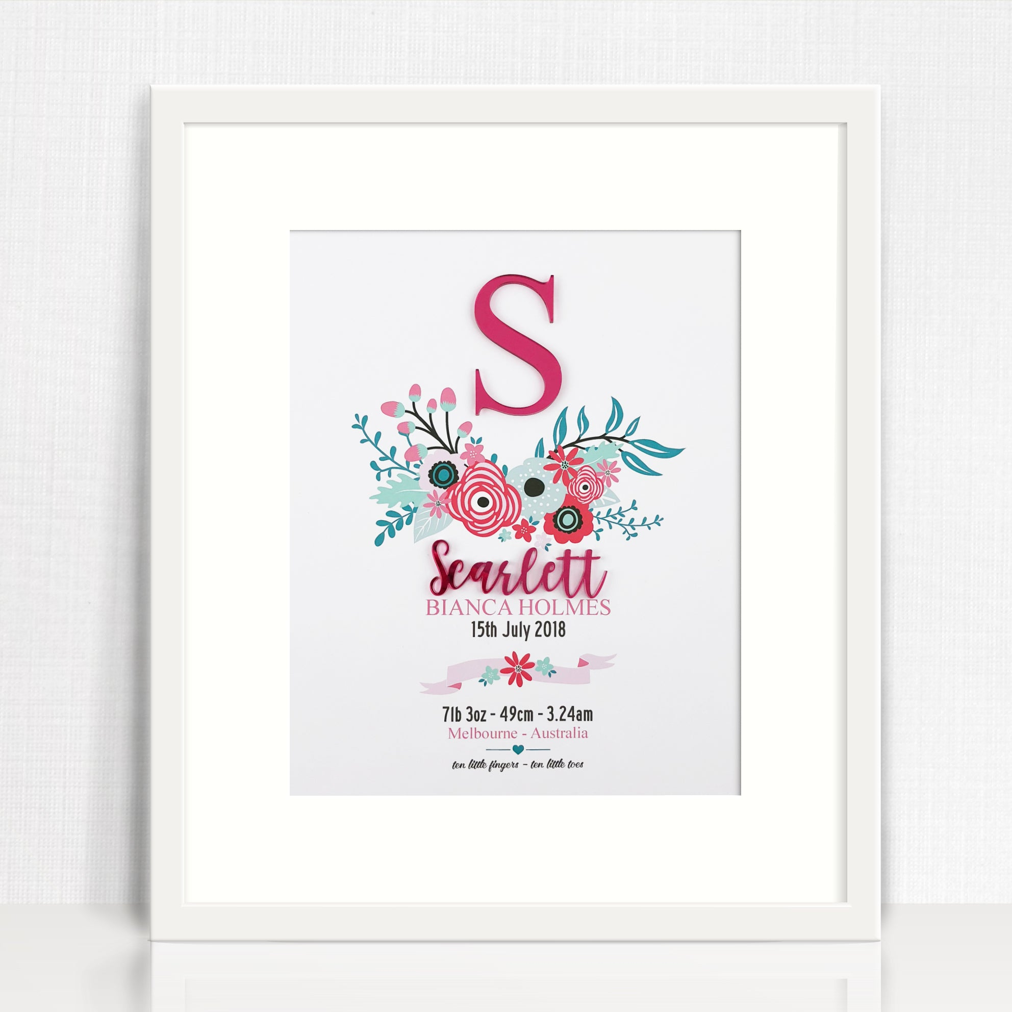 Mirror (Pink) Bright Flowers Birth Print