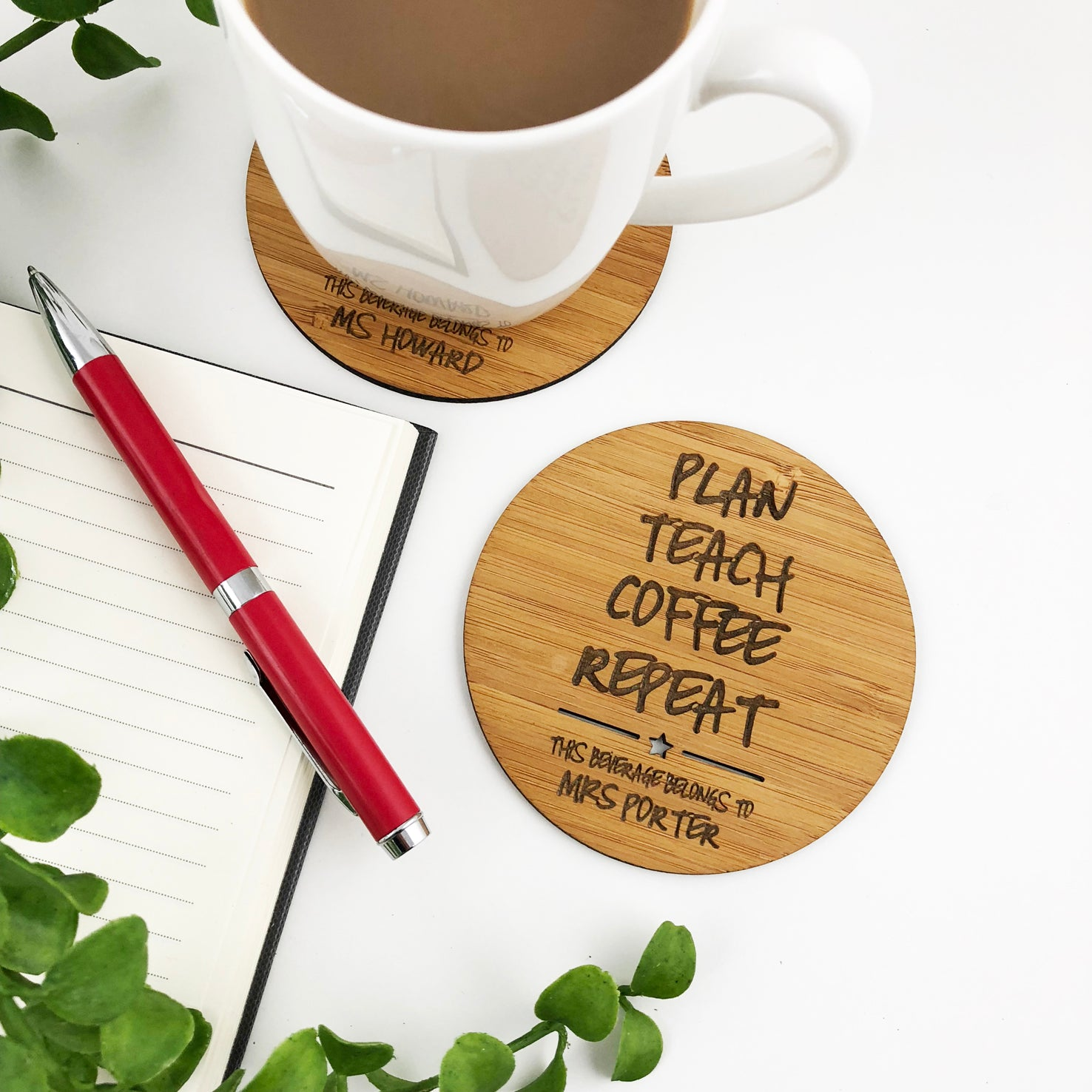 Personalised Plan Teach Repeat Coaster