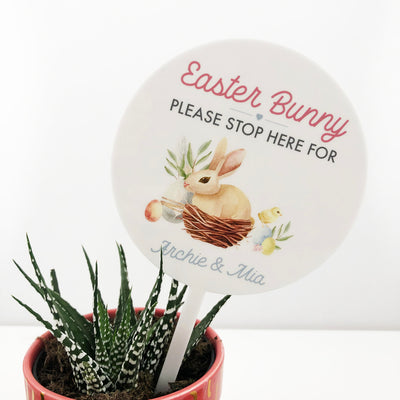 Easter Bunny Please Stop Here Planter Stem
