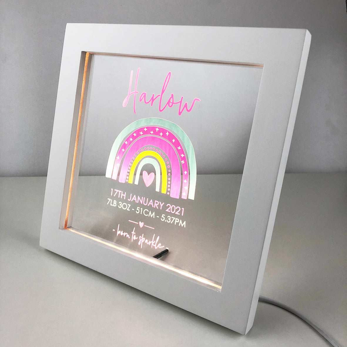 Rainbow Girls Personalised Light Frame