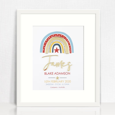 Mirror (Gold) Boys Rainbow Birth Print