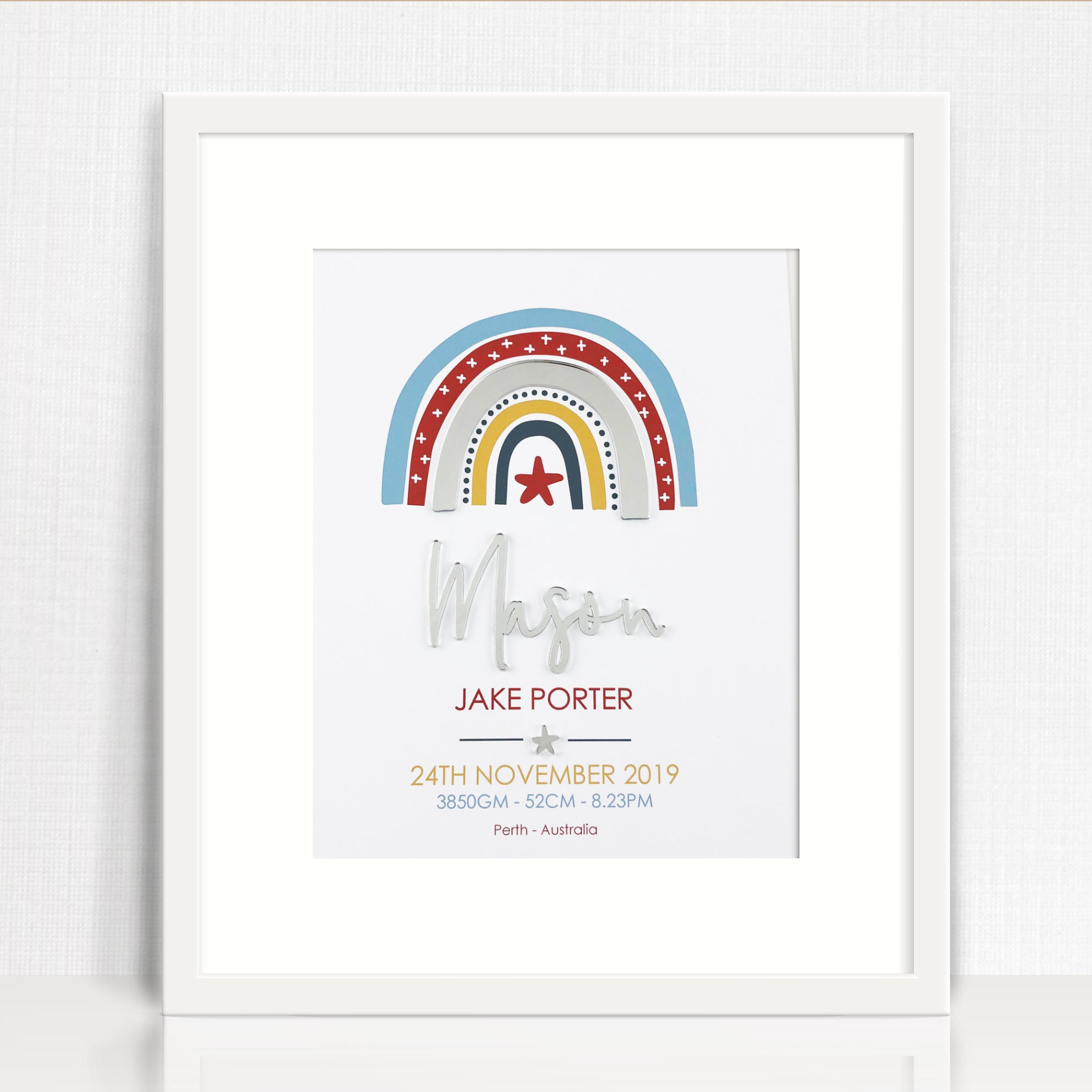 Mirror (Silver) Boys Rainbow Birth Print
