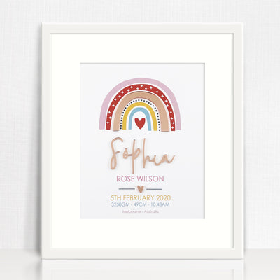 Mirror (Rose Gold) Girls Rainbow Birth Print