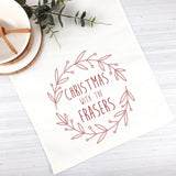 Red Wreath Christmas Table Runner