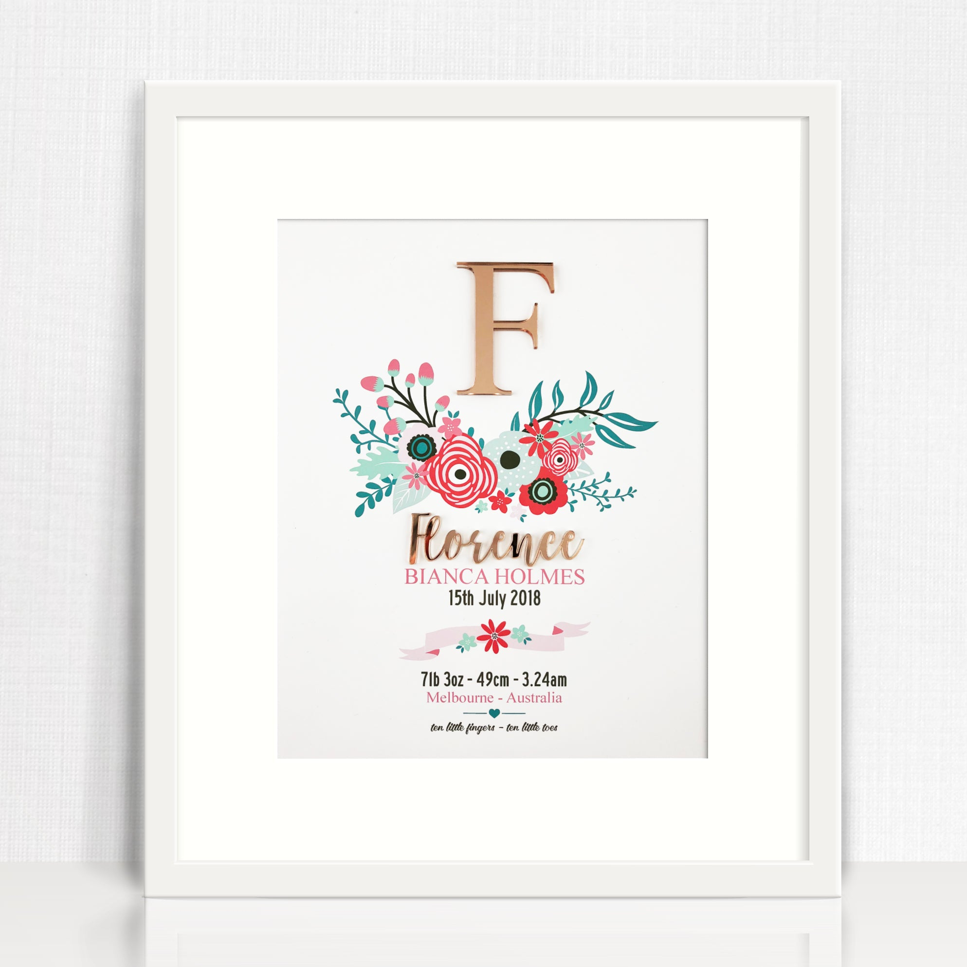 Mirror (Rose Gold) Bright Flowers Birth Print