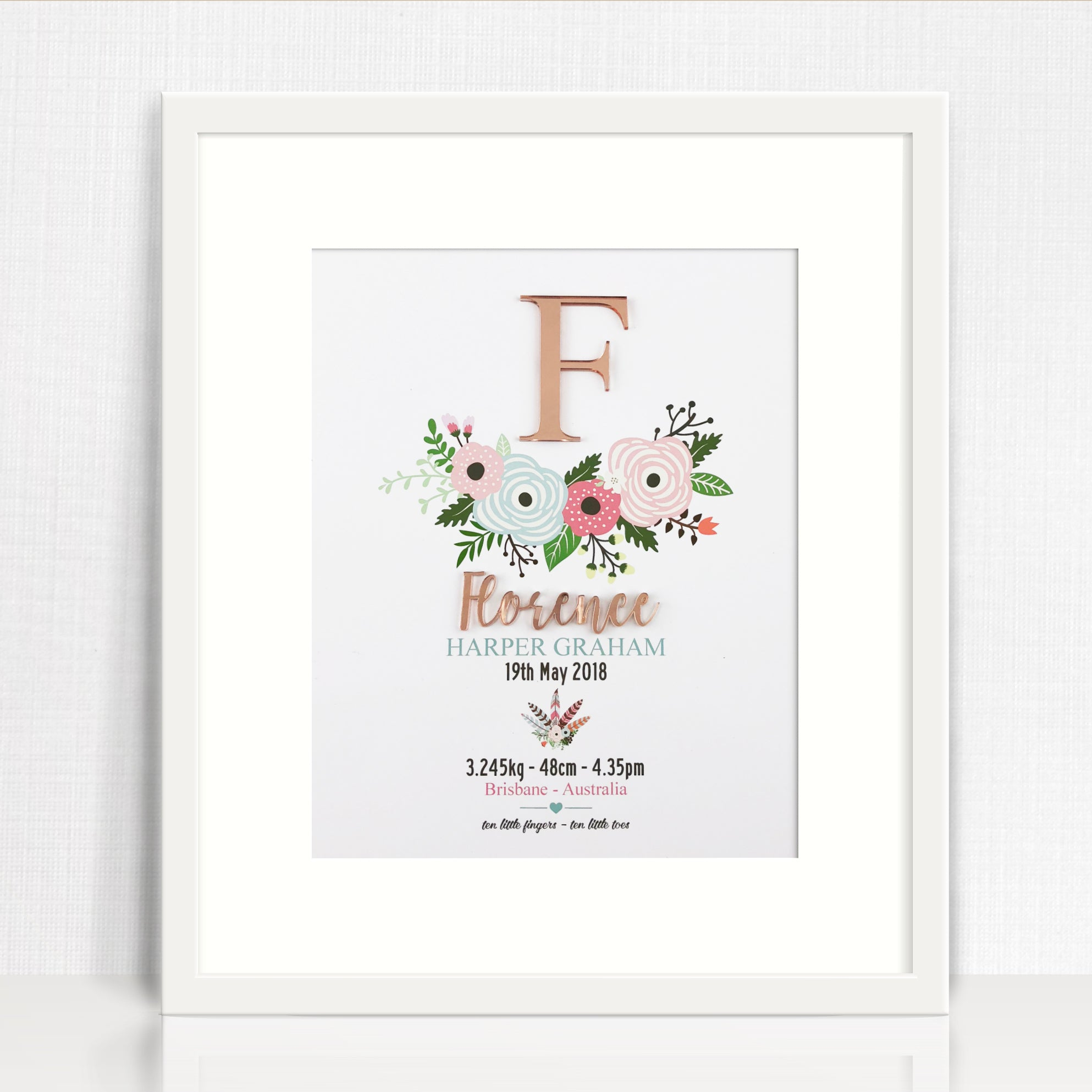 Mirror (Rose Gold) Flowers Birth Print
