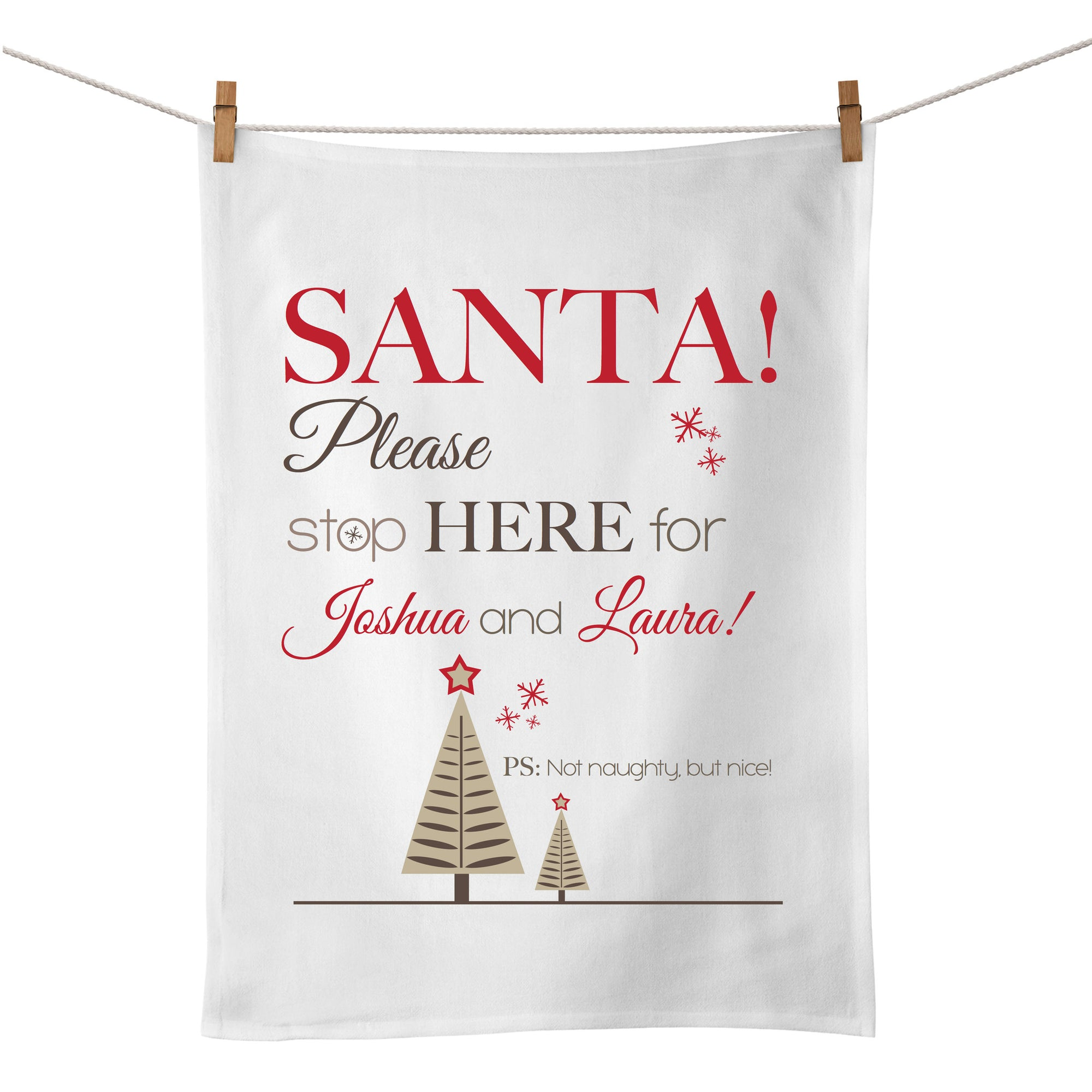 Santa Please Stop Here Tea Towel