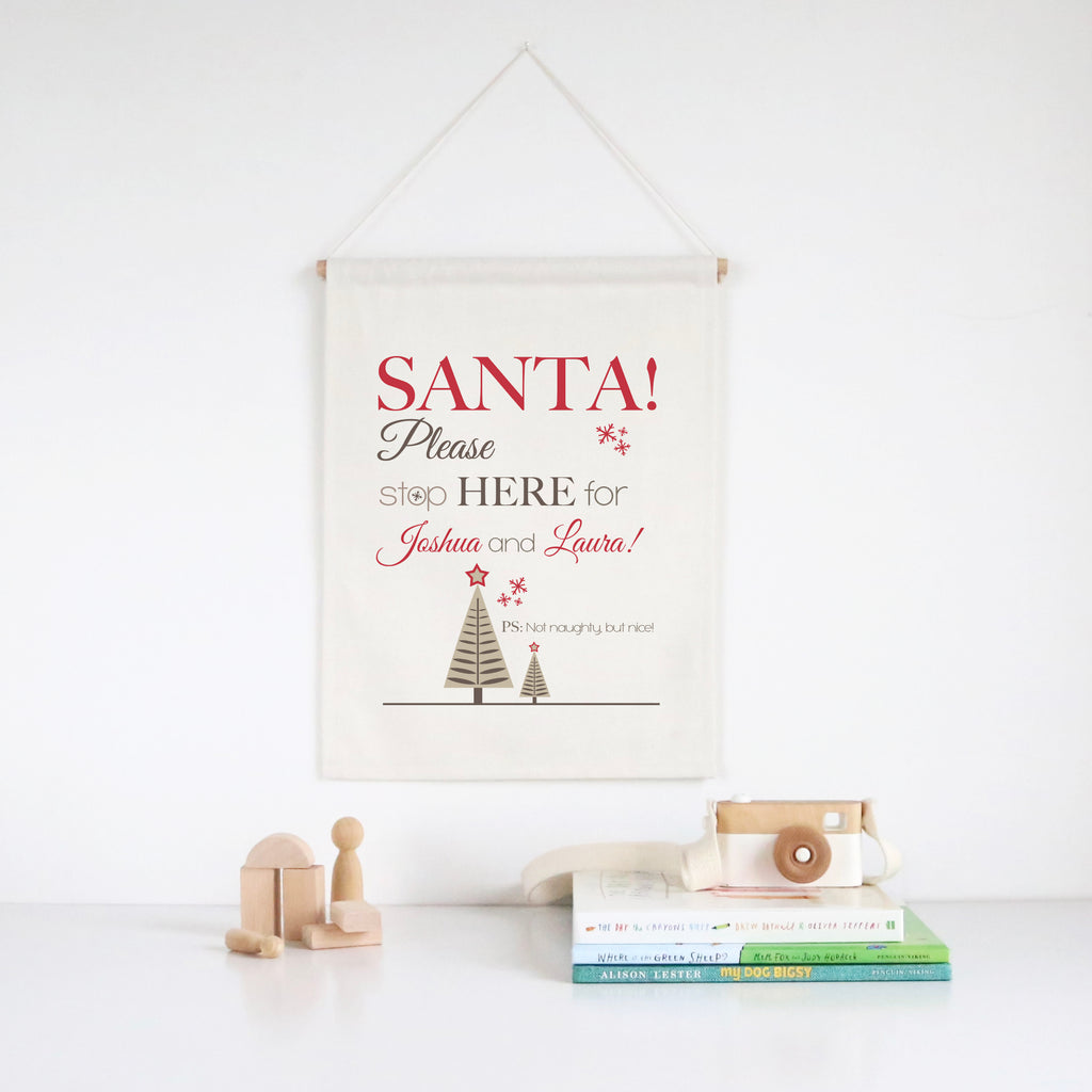 Santa Please Stop Here Wall Banner