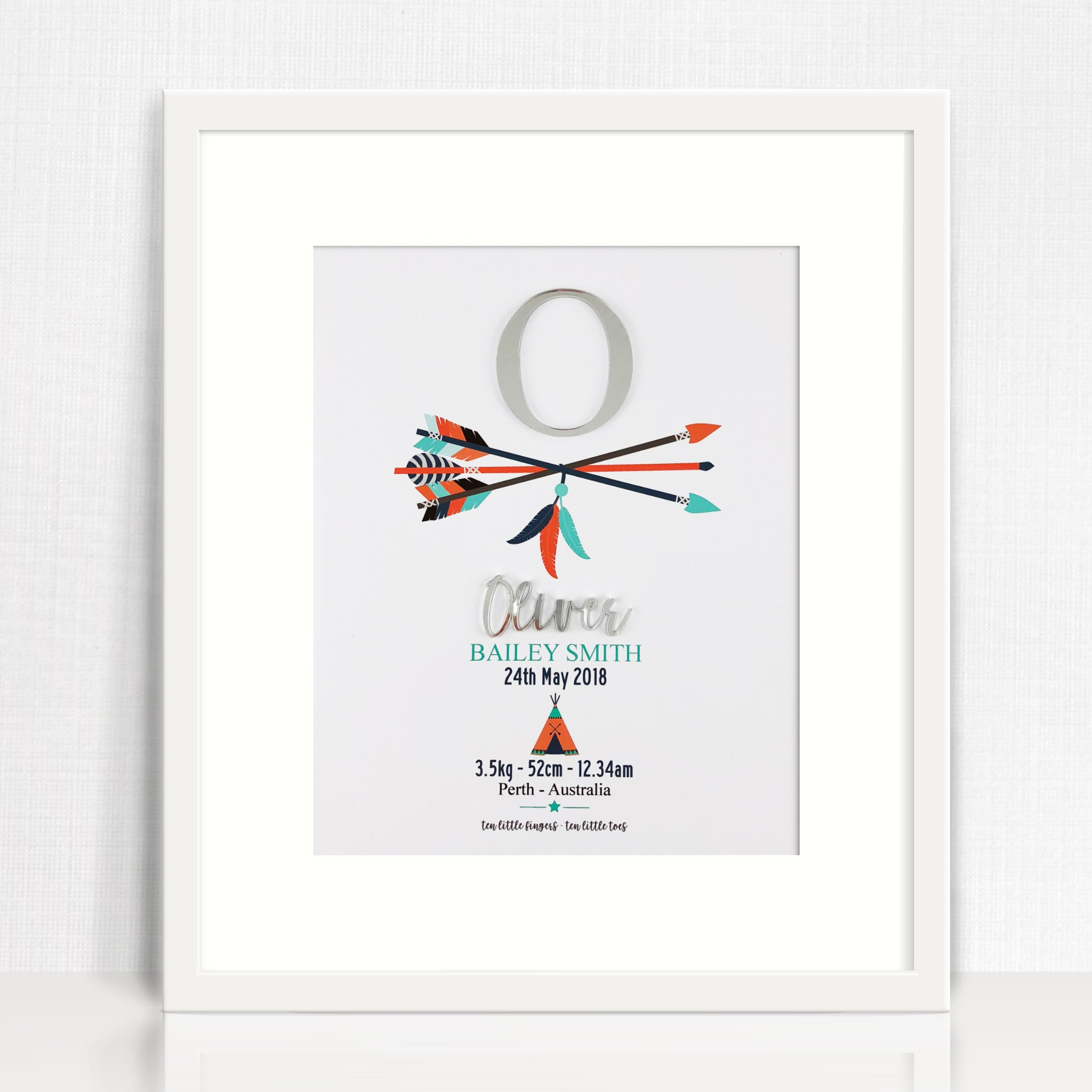Mirror (Silver) Arrows Birth Print