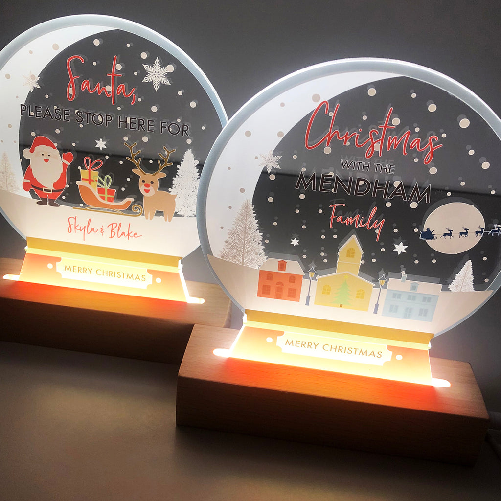 Santa Stop Here Snow Globe Christmas Night Light
