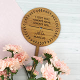 I Love You Round Bamboo Planter Stick