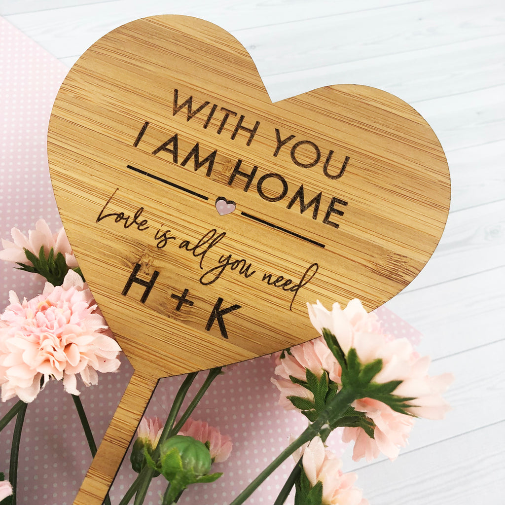 With You I Am Home Bamboo Planter Stick