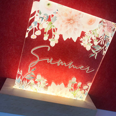 Vintage Flowers Personalised Night Light