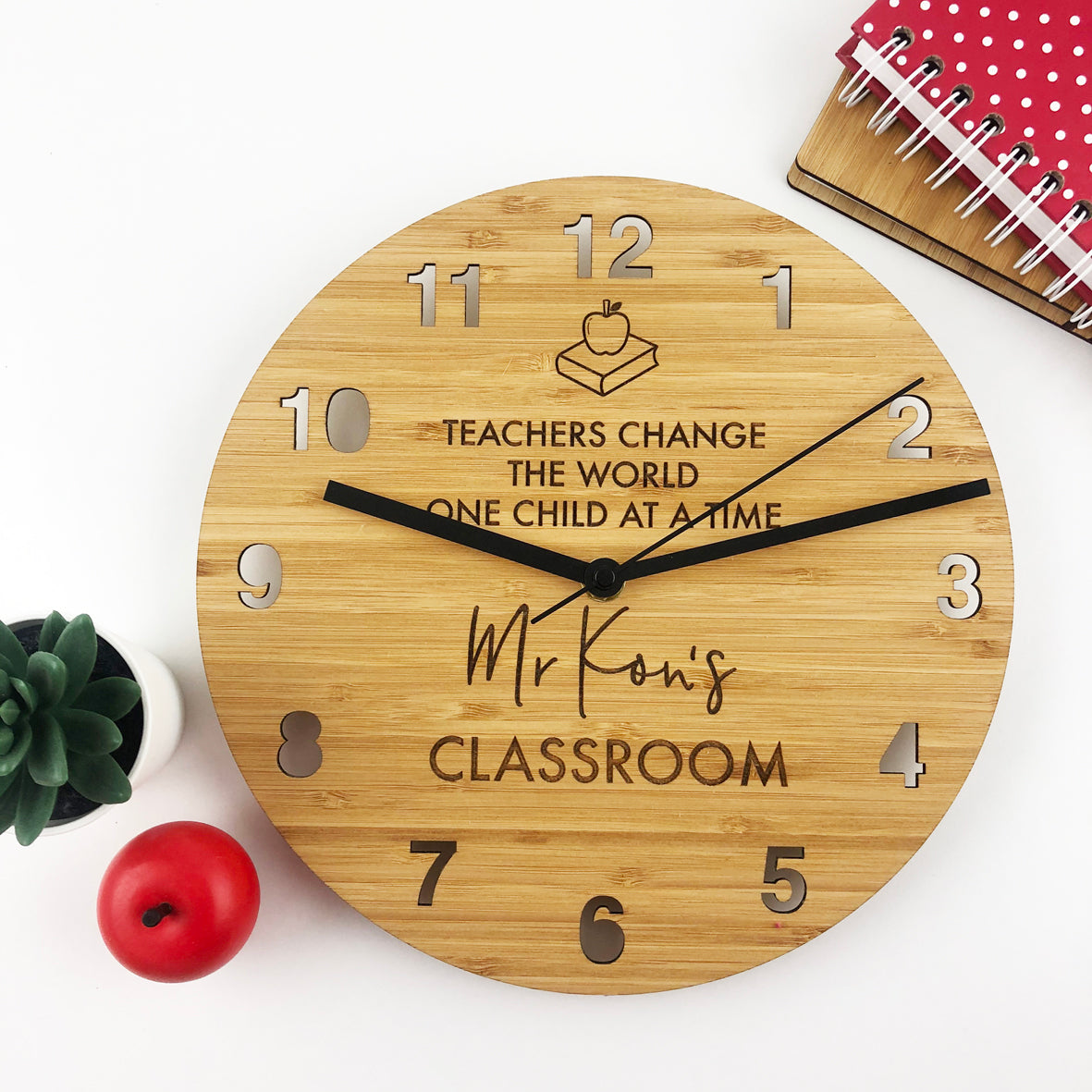 Teacher Apple Personalised Wall Clock