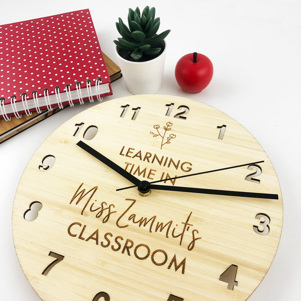 Teacher Flower Personalised Wall Clock