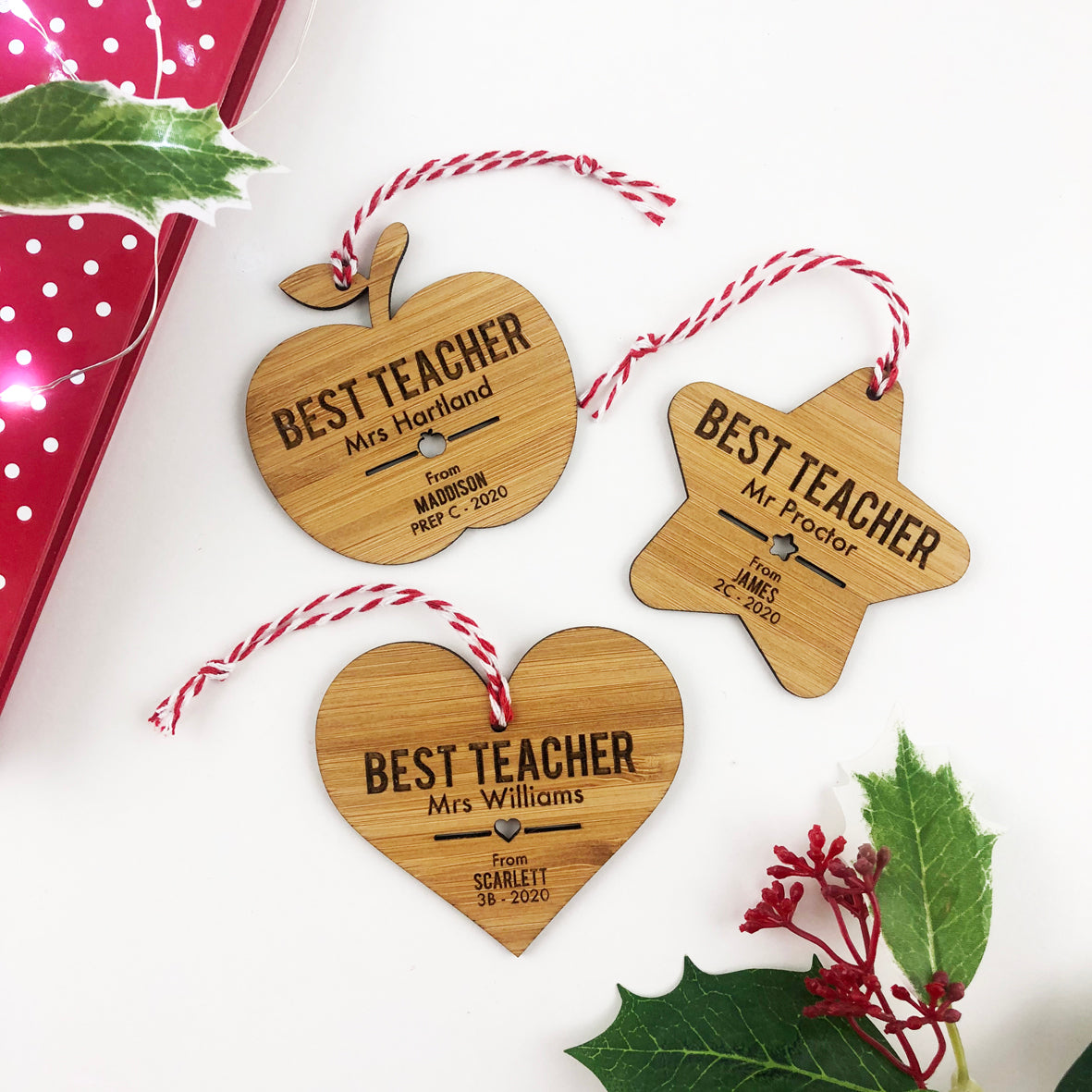 Best Teacher Bamboo Ornaments (3 Designs)