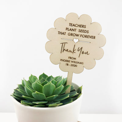 Personalised Teacher Flower Planter Stick - Wood