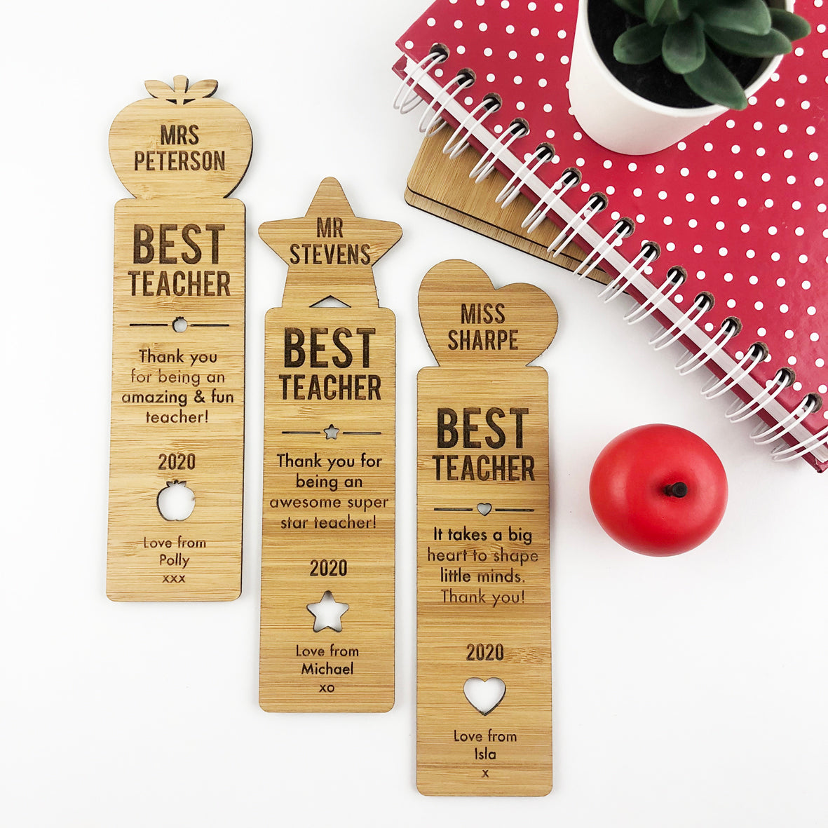 Best Teacher Bamboo Bookmark (3 designs available)