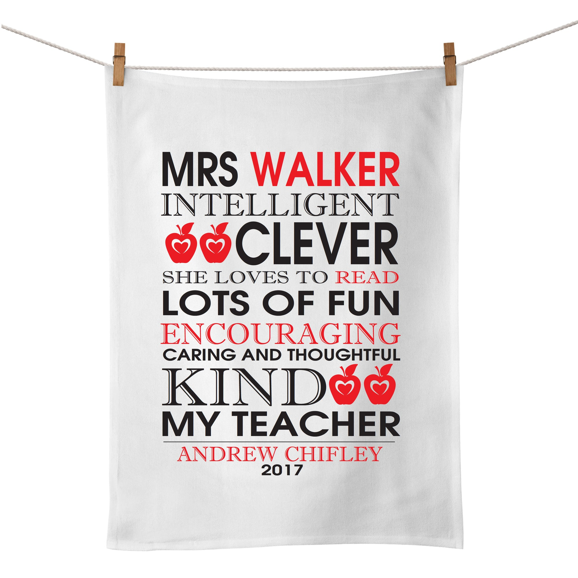 Teacher Bus Scroll Tea Towel - Red