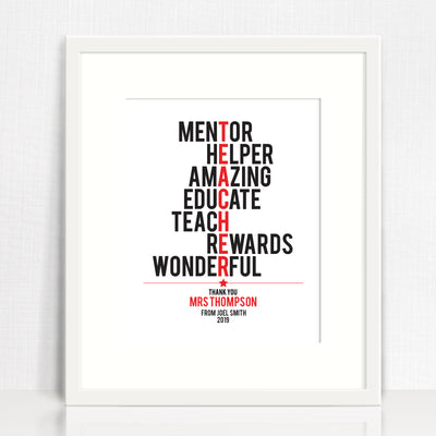 Teacher Print (typographic)