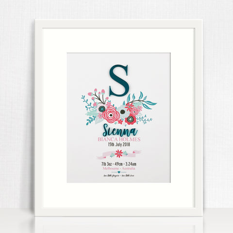 Botanical Vine Bamboo Birth Print