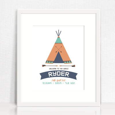 Teepee Birth Print