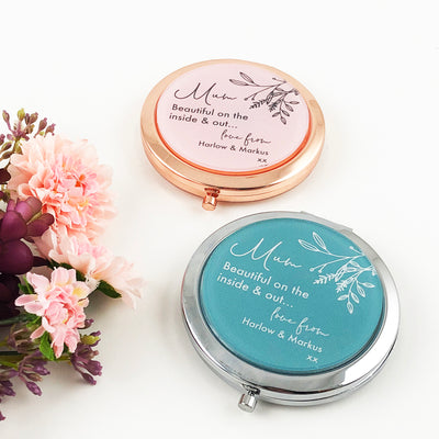 Personalised Text Compact Mirror (Rose Gold & Silver)