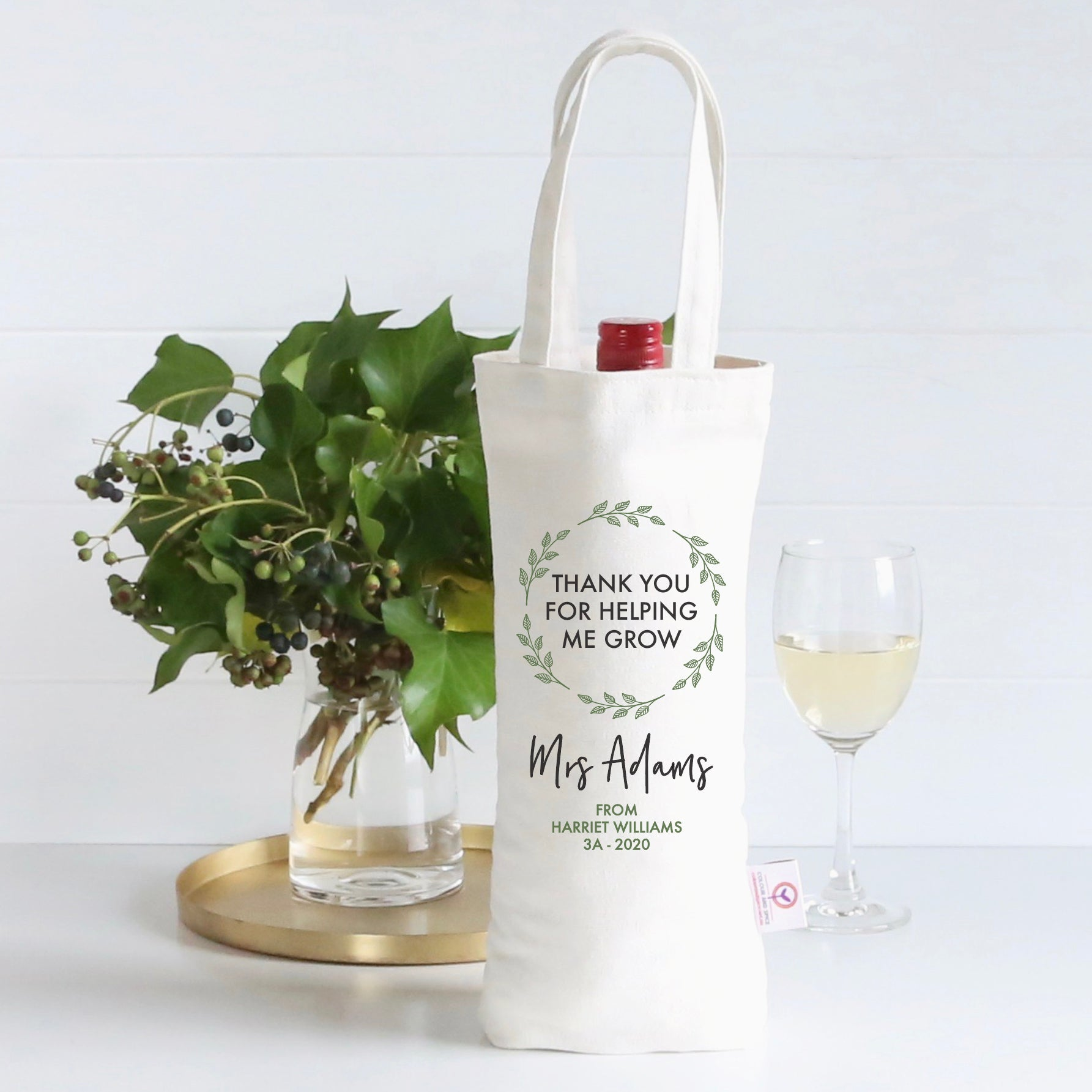 Thank You For Helping Me Grow Wine Bag