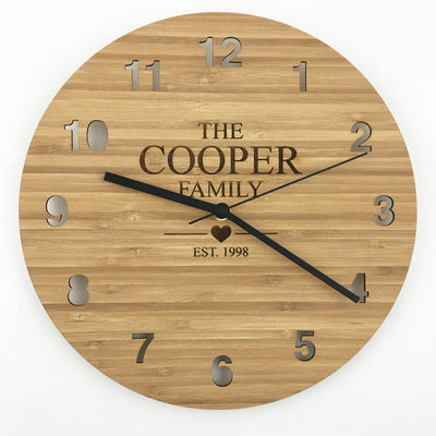 The Family Bamboo Wall Clock