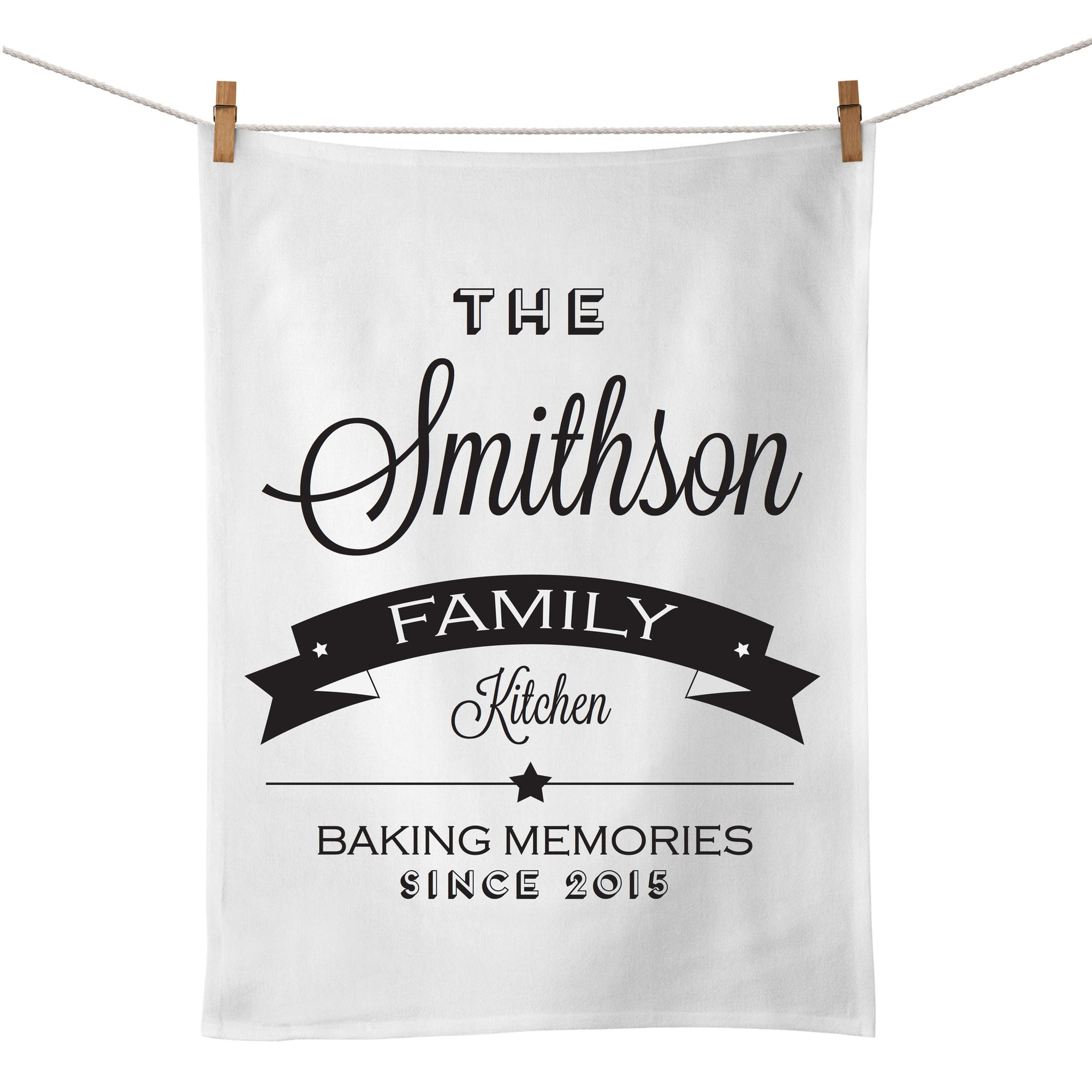 The Family Kitchen Tea Towel (black)