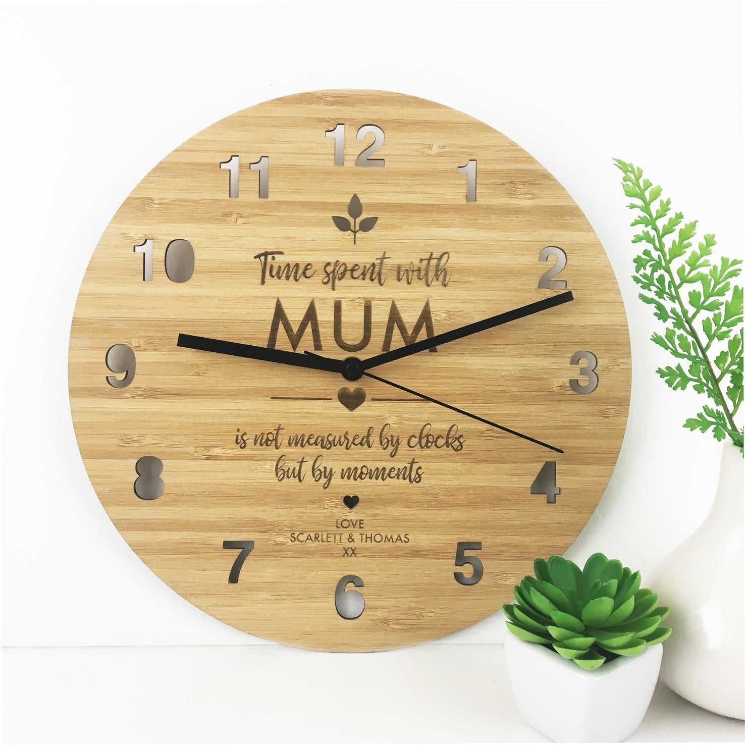 Time Spent Bamboo Wall Clock - Mother's Day