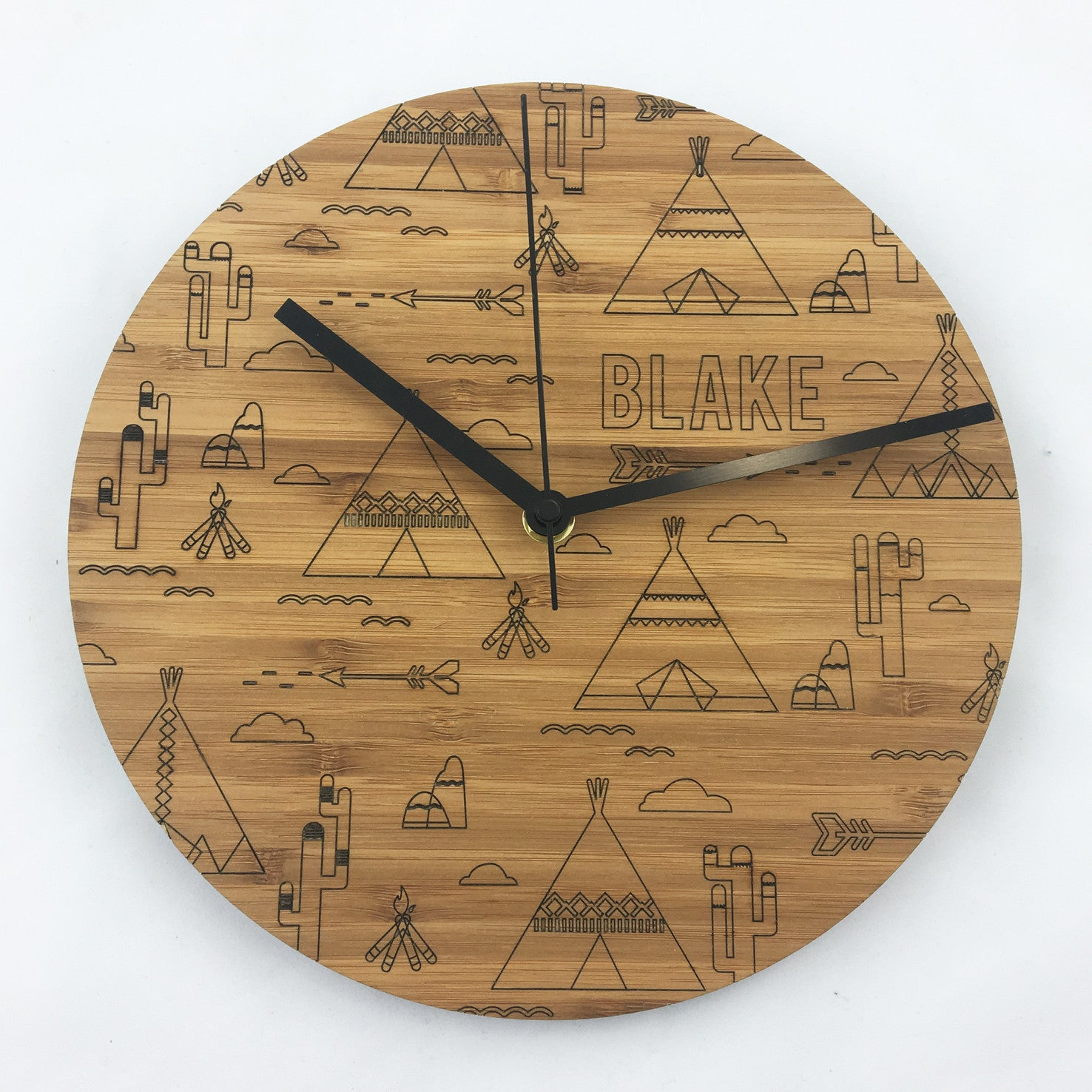 Tribal Etched Clock - Bamboo