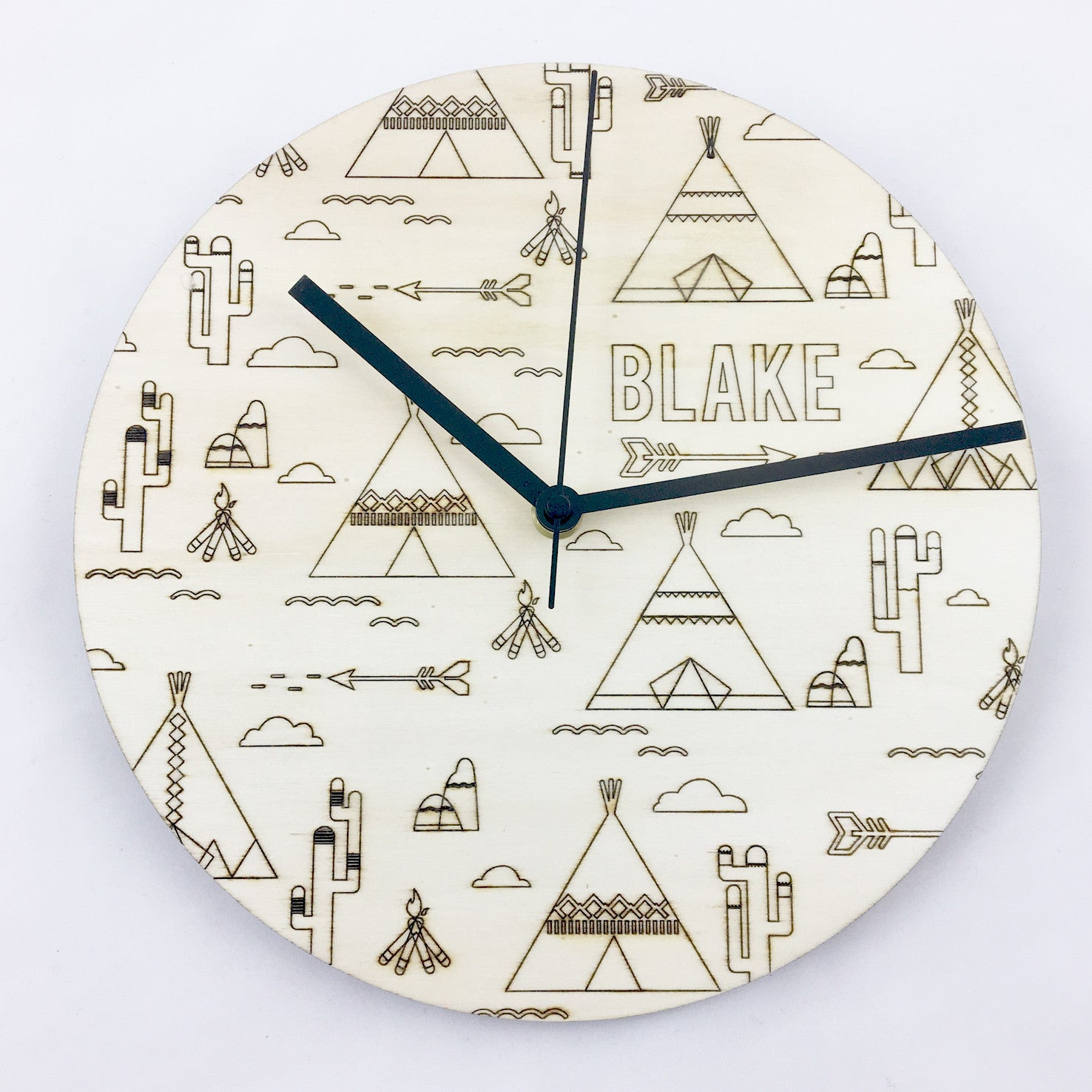 Tribal Etched Clock - Plywood