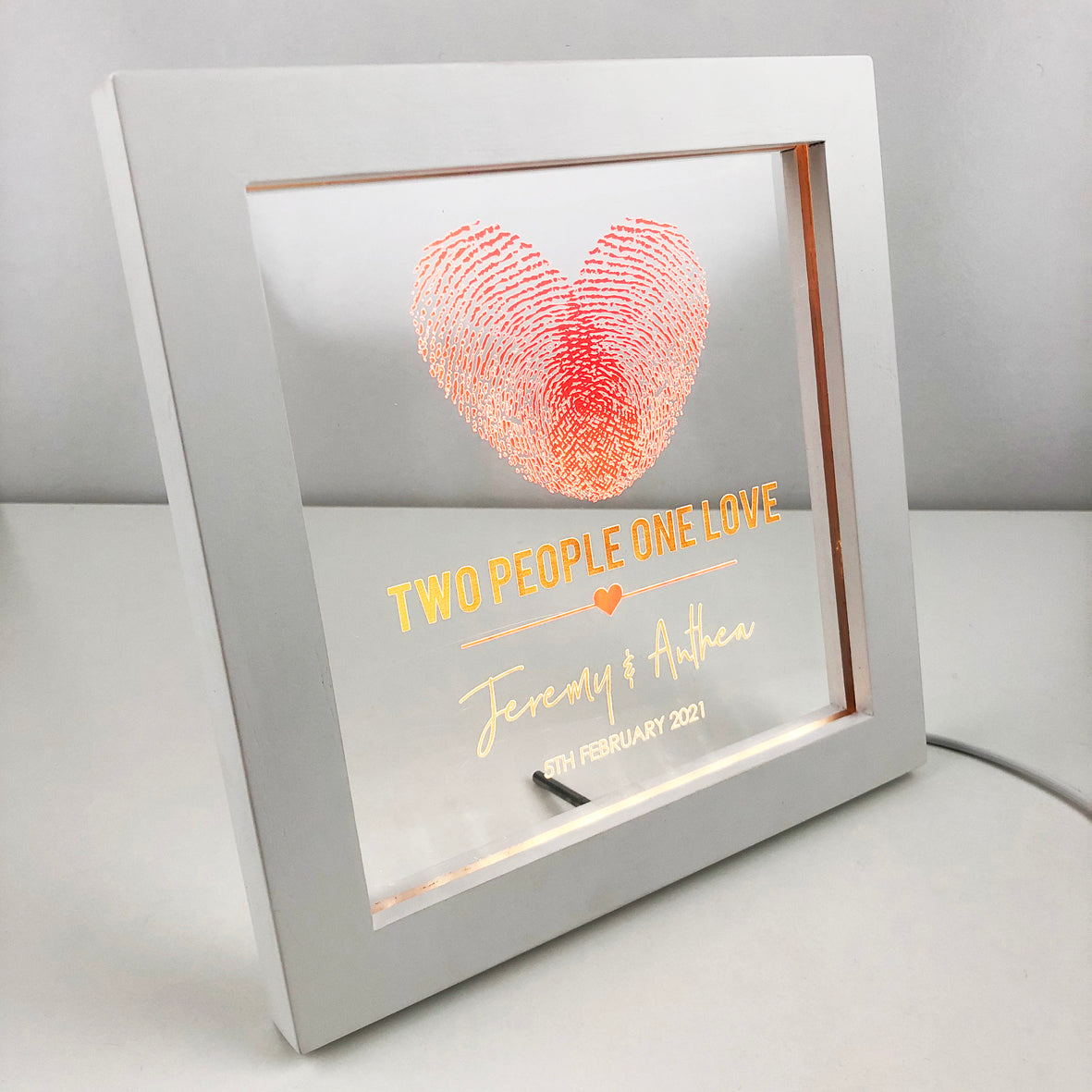 Two People One Love Personalised Light Frame