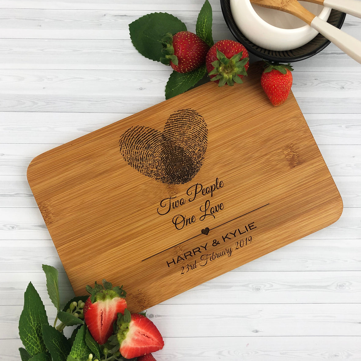 Two People One Love Bamboo Serving Board