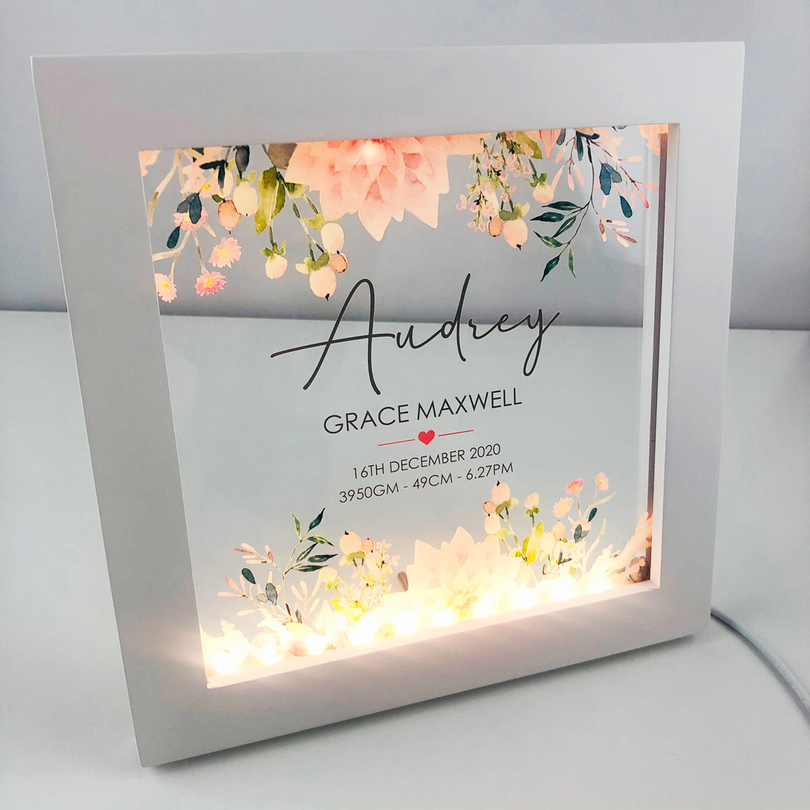 Vintage Flowers Personalised Light Frame