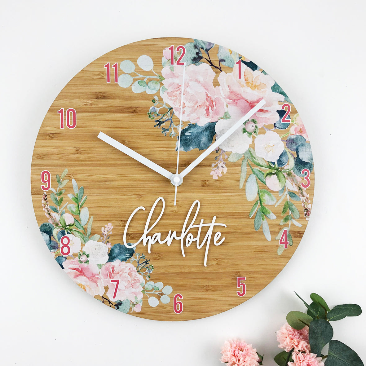 Watercolour Flowers Personalised Clock - Bamboo