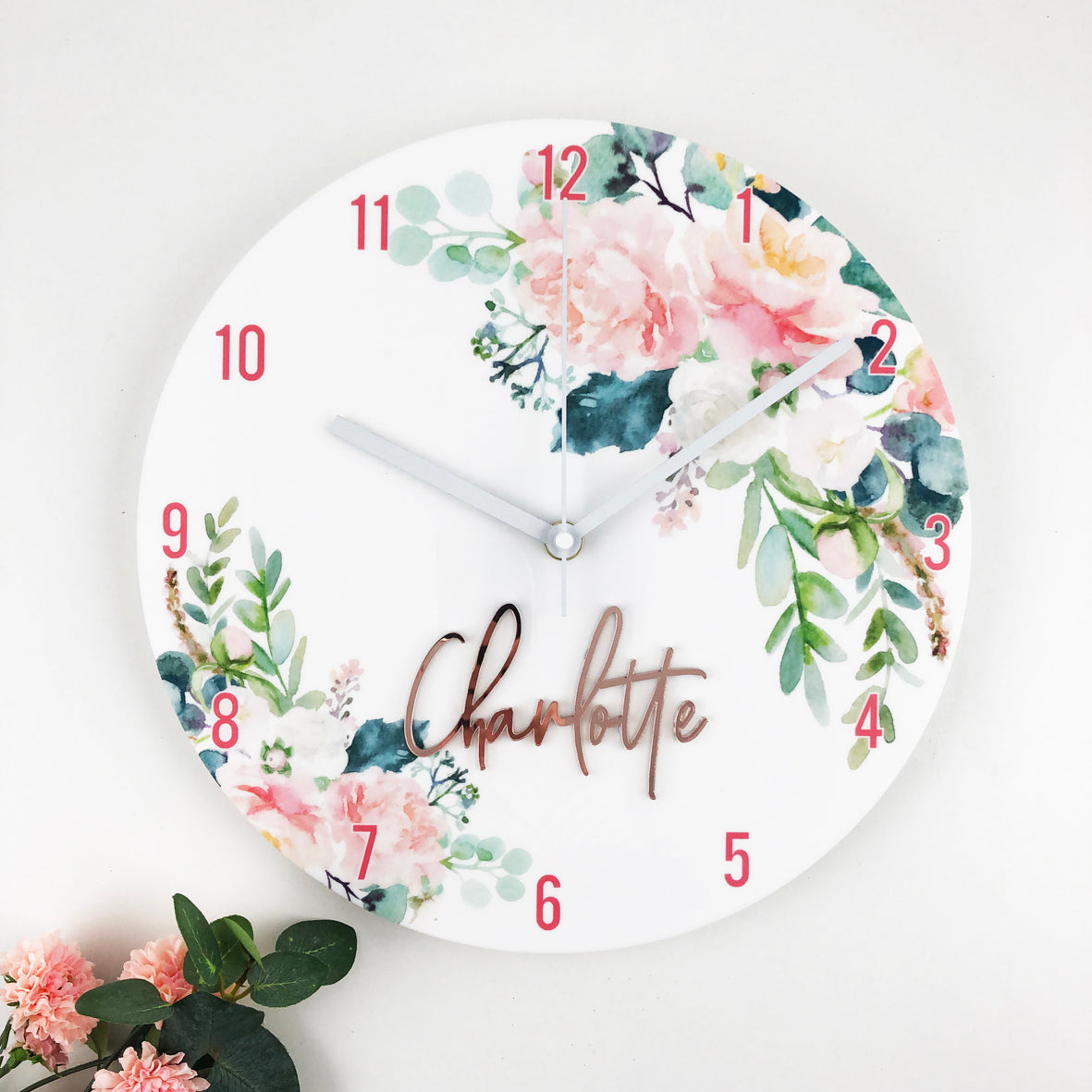 Watercolour Flowers Personalised Clock - Acrylic