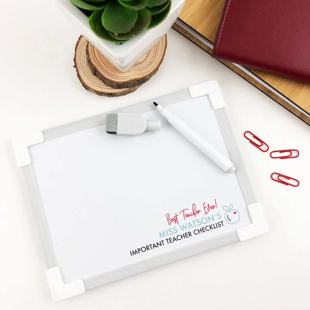 Teachers Personalised Mini Magnetic Whiteboard with Pen