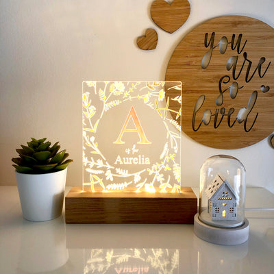 Wildflowers Wreath Personalised Night Light