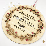 Bamboo Wreath Family Wall Hanging